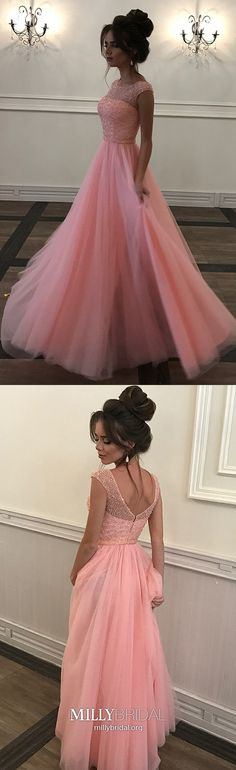 Pink Prom Dresses Long, A Line Prom Dresses Tulle, Modest Prom Dresses Beading, Sparkly Prom Dresses For Teens