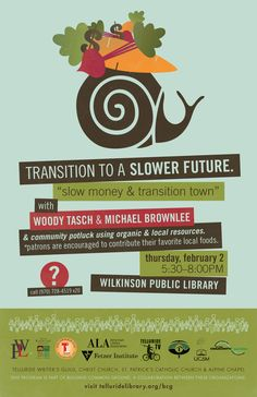 """Flyer for a Building Common Ground program about """"Slow Money"""""""