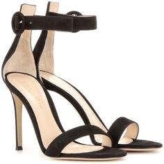 Gianvito Rossi Portofino 105 Suede Sandals (€665) ❤ liked on Polyvore featuring shoes, sandals, heels, black, black shoes, black heel sandals, kohl shoes, black sandals and heeled sandals