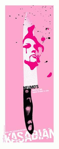 """Original concert poster for Kasabian, Mew, and One Thousand Pictures Band at Neumo's in Seattle, WA. 11 x 28"""" Pink, magenta and black on 80# cover stock signed and numbered edition of only 125 by artist Dan Stiles."""