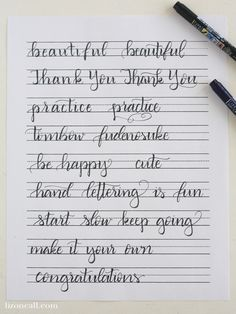 Free Printable Hand Lettering Practice Sheets - Liz on Call Hand Lettering For Beginners, Hand Lettering Practice, Hand Lettering Alphabet, Hand Lettering Tutorial, Calligraphy Practice, Doodle Lettering, Creative Lettering, Handwritten Letters, Lettering Styles