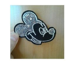 Mickey Mouse - Disney - Cartoon - Silver Sequin Iron On Applique Patch - R #Unbranded