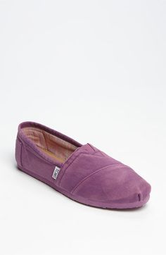 TOMS! Sun-bleached canvas shapes a casual slip-on outfitted with a padded leather footbed and molded arch support for beach-bum comfort. #shoes