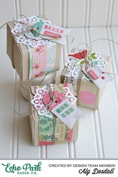 """Doily Gift Boxes by @alydosdall  with the """"Jack & Jill: Jill"""" collection by #echoparkpaper"""