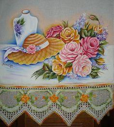 Pano de copa com pintura em tecido | Artes em Crochê e Pintura | 1B0ADA - Elo7 Crochet Lace Edging, One Stroke Painting, Arte Floral, Fabric Painting, Cross Stitch Patterns, Diy And Crafts, Projects To Try, Decorative Boxes, Artwork