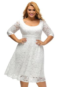White Lace Floral Sleeved Fit and Flare Curvy Dress