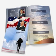 Military Memorial Service Program Template.