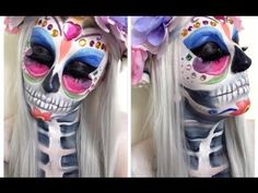 Day Of The Dead Makeup Tutorial ♡ Halloween Butterfly Design - YouTube