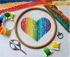 Rainbow Heart. Cross Stitch Pattern PDF  Instant download