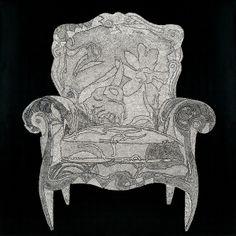 의자, 90x90cm 옻칠기법 판넬위에 난각 2009, by 공숙자, 아트뮤제갤러리