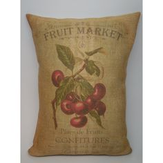 Cherries Burlap Pillow French Country Rustic Farmhouse Insert Included ($23) ❤ liked on Polyvore featuring home, home decor, throw pillows, black, decorative pillows, home & living, home décor, burlap throw pillows, black toss pillows and black accent pillows
