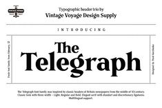 The Telegraph • Typographic Trio by Vintage Voyage Design Co. on @creativemarket