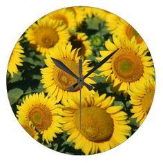 Beautiful Field of Sunflowers Large Clock - beautiful gift idea present diy cyo