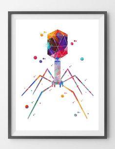 Bacteriophage Art Print Science Art Phage Watercolor Print Bacterial Virus Art Poster Cytology Print Biology Art Bacteria Wall Decor Gift