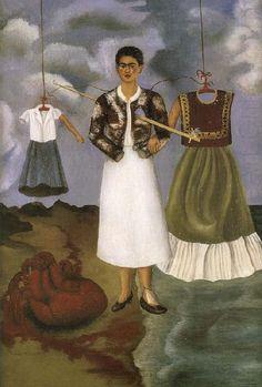 Frida Kahlo, painting. Frida era uma pessoa sofrida e teve uma vida difícil , que é mostrado através de suas muitas pinturas tristes.
