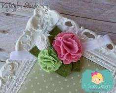 Light Green White Pink Pom Rosette Rose Wool Felt by Dorki on Etsy
