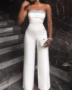 Glitter Detail Wide Leg Tube Jumpsuit - Fashion Able Jumpsuit With Sleeves, White Jumpsuit, Jumpsuit Outfit, Romper Pants, Prom Jumpsuit, Capri Jumpsuit, Elegant Jumpsuit, Formal Jumpsuit, Tailored Jumpsuit