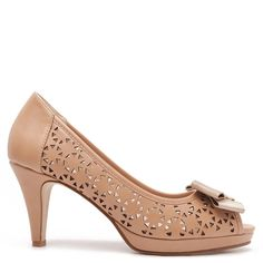 "Beige peep-toe mid heel pumps with laser-cut design & bow with""M"" logo medallion in gold."