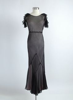 HEMLOCK VINTAGE CLOTHING : 1930's Chiffon Evening Gown with Basketweave Back
