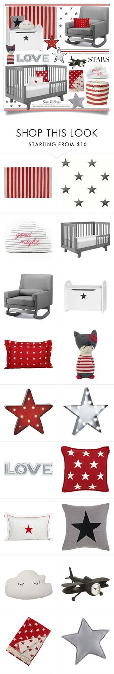 """""""Stars, Stripes & Cloudy Nights Nursery Decor"""" by hmb213 ❤ liked on Polyvore featuring interior, interiors, interior design, home, home decor, interior decorating, BorÃ¥sTapeter, Giggle, Baxton Studio and GANT"""
