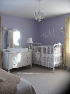 Nursery of Lavender and white in Master Bedroom.