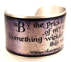 Macbeth Witches Quote Bracelet, Silver Purple Shakespeare Jewelry, Literary Cuff