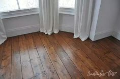 Wooden floor in Victorian house. Plank floor floorboards boards original wood wooden Osmo Polyx Oil restore refinish repair.