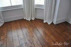Wooden floor in Victorian house. Plank floor floorboards boards original wood wooden Osmo Polyx Oil restore refinish repair.