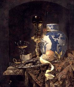 "Willem Kalf (1619–1693), ""Still-Life with a Late Ming Ginger Jar,"" 1669. Oil on canvas, 77 x 66 cm, Museum of Art, Indianapolis #nyusurvey2"