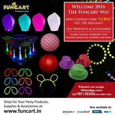 """Welcome the new year our way. Apply coupon code """"FC2016"""" and get 13% discount. Shop Now: www.funcart.in #PartySupplies #newyear"""