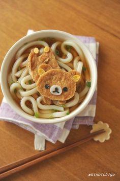 Rirakkuma Japanese udon noodle. リラックマのきつねうどん わくわくキャラクター弁当