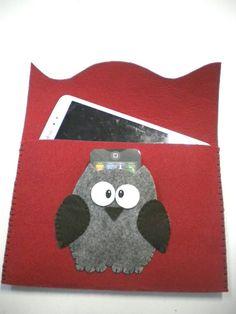 Custom felt case owl universal hand made.