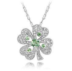 GoSparking cristal verde del oro blanco 18K de cuatro hojas del trébol colgante de la aleación con el cristal austríaco para las mujeres