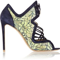 Nicholas Kirkwood Suede and lace sandals ($648) ❤ liked on Polyvore featuring shoes, sandals, green, mint, lace-up sandals, high heeled footwear, lace high heel shoes, high heel sandals and suede leather shoes