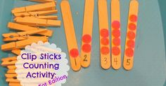 Expose your little ones to simple math skills with clothespins.  Work on fine motor skills, too, as your child clips a certain number clothespins to each stick.  Perfect toddler math activity!