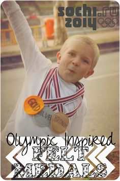 These felt olympic medals are fun to make and give out any any kids competition or celebrate the olympics when they come around every few years. Craft Activities For Kids, Crafts For Kids, Toddler Activities, Competitions For Kids, Olympic Medals, Kids Dress Up, Bee Crafts, Niece And Nephew, Felt Diy