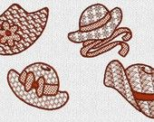 INSTANT DOWNLOAD Lacy Red Hat Ladies Redwork Machine Embroidery Designs