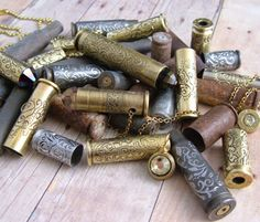 Polished and etched bullet casings