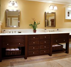 We all need a space to call our own – the bathroom should be no different. Shown here is a bathroom with his and hers sinks that provide a place for everything in a clean, modern look. Under-sink bathroom Plain & Fancy