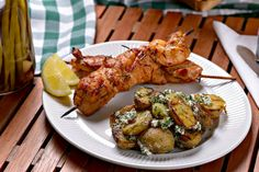 Grilled Potato Salad With Feta And Dill: Gold potatoes, feta cheese, EVOO, lemon, dill, shallot, S & P