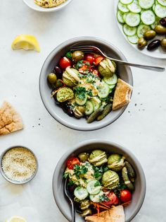 "vege-nom: "" Baked falafel bowls / Recipe source Click here for more vegan food…"