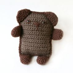 "Amigurumi Teddy by lionbrand: Measures 7"" tall. Free crochet pattern. #Teddy_Bear #lionbrand #Crochet"