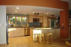raised ranch kitchen idea - like the shelf over the island.