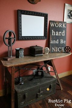 The Rustic Pig: Ironing Board Turned Into A Table...Will keep my eyes out next time we go to a junk store