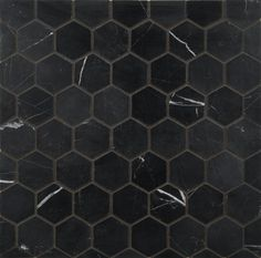 "ANN SACKS Nero Marquina 2"" hexagon marble mosaic in honed finish"