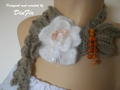 MOHAIR  SCARF  with ANGORA  Flower  Crochet Flower by DinFir, $15.00