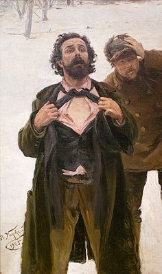 by Vladmir Makovsky 1846-1920, a detailing he painted from Bloody Sunday which took place on January 9, 1905 on Vasilyevsky Island. Workers protested and the Tsar ordered Cossacks to attack.