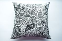 Modern Black & White Paisley Decorative Throw Pillow Cover, Home Decor Accent, 16x16 Couch Cushion, Living Room, Bedroom Decor, Baby Nursery by ThimbleAndTag