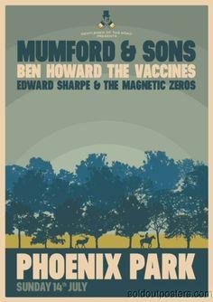 MUMFORD & SONS - 2013 Poster Print Phoenix Park Du #WOWmusic