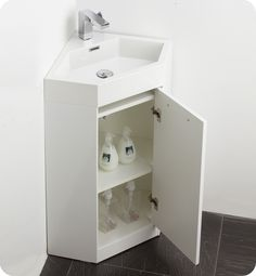 "bathroom vanities | Fresca Coda 18"" Bathroom Vanity, White Modern Corner Bathroom Vanity ..."